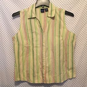 Basic Editions Green Striped Button Down Blouse